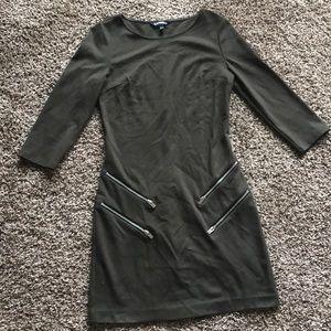 Express olive green zipper dress